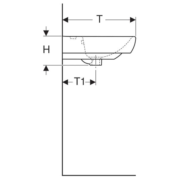 GEBERIT UMIVAONIK SELNOVA SQUARE 55cm 500.290.01.1