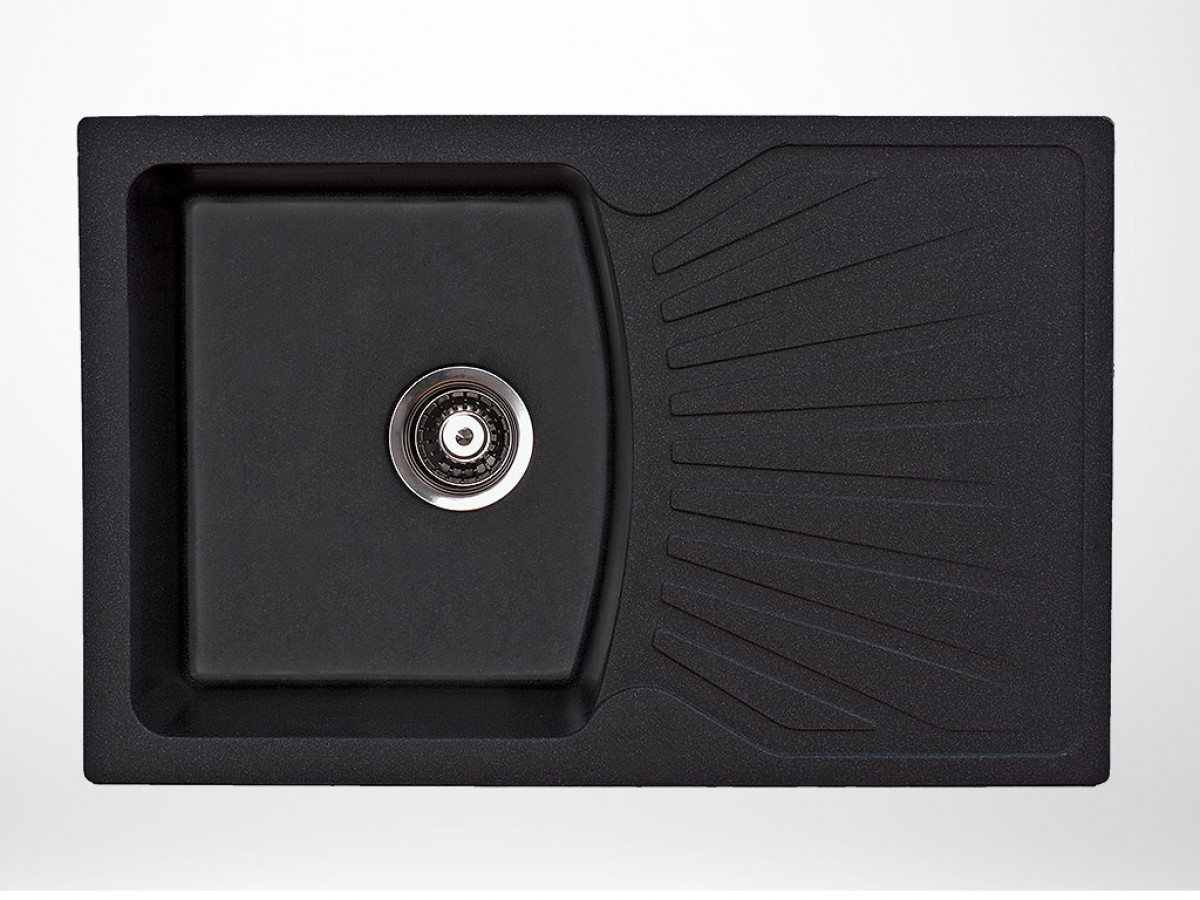 Kvarcna sudopera X Granit Quadro PLUS 770x500 fi 90 sa sifonom CRNA