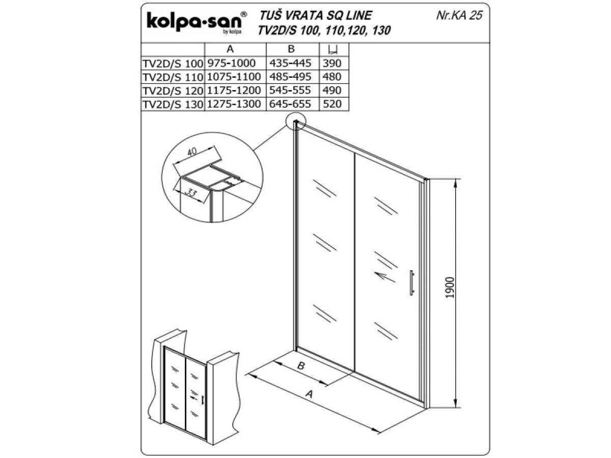 KOLPA SAN PARAVAN TV2D/S SQ line 100 S/K BELI RAM