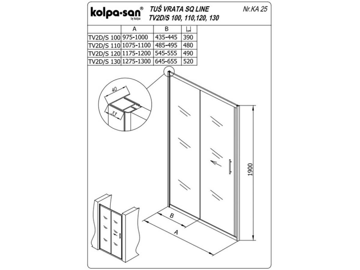 KOLPA SAN PARAVAN TV2D/S SQ line 100 S/K SILVER RAM