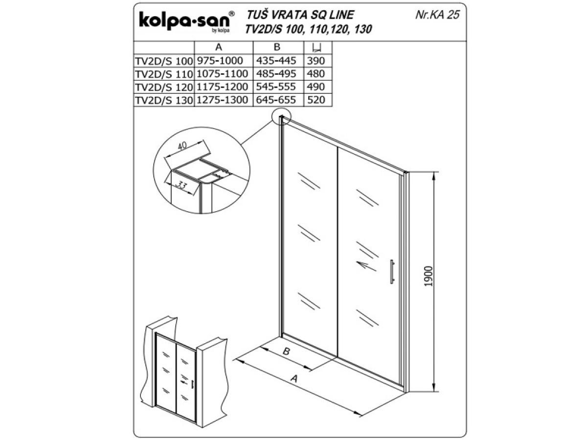 KOLPA TV2D/S SQ line 100 S/CH činčila,5/6,mm,,silver,,