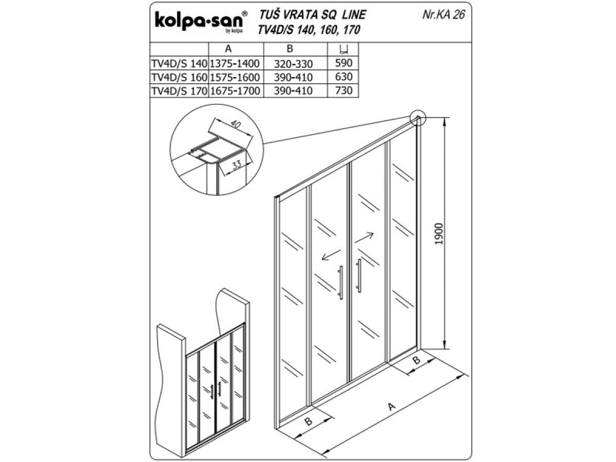 KOLPA TV4D/S SQ line 160 S/K Sprov.,5/6,mm,,silver,,h=
