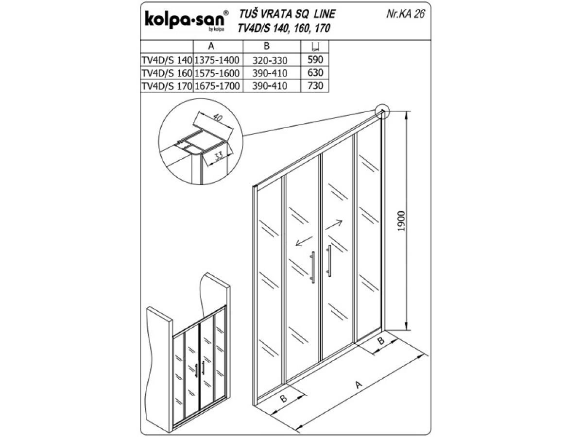KOLPA TV4D/S SQ line 160 S/CH činčila,5/6,mm,,bela,,h=