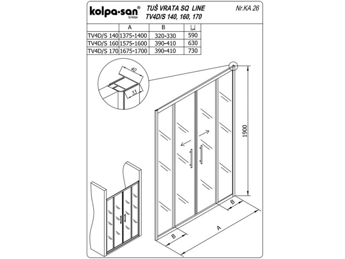 KOLPA SAN PARAVAN TV4D/S SQ line 170 S/K SILVER RAM