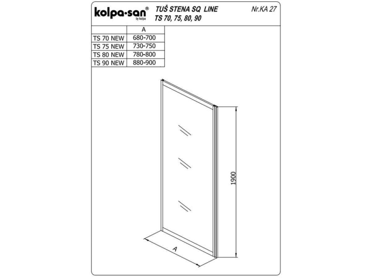 KOLPA TS SQ line 75/K NEW BELAprov.5/6,mm,bela,,,
