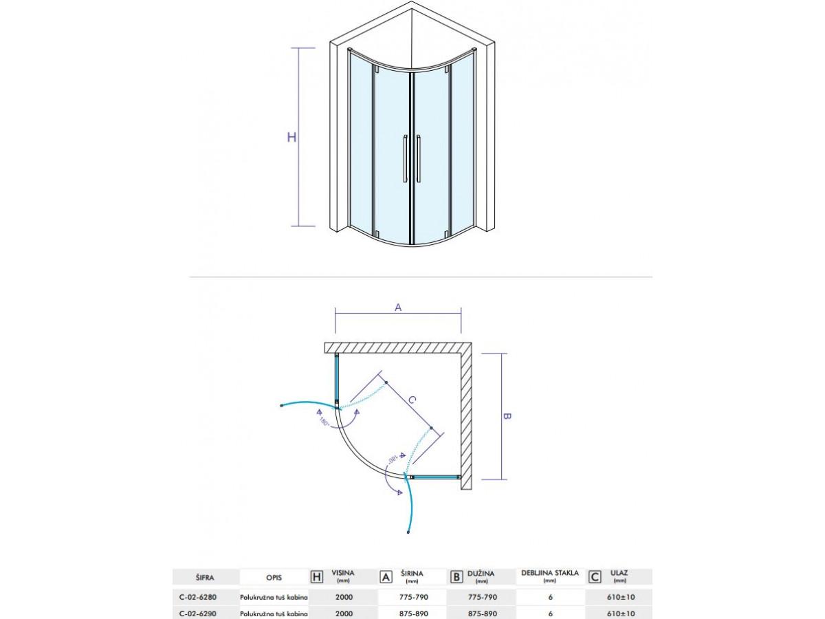 CONCEPT Tuš kabina  ABSOLUT R900x2000 staklo 6mm providno sa pivot vratima C-02-6290