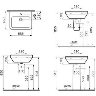 VITRA LAVABO 55X37 COMPACT 5341L003-0001 S50