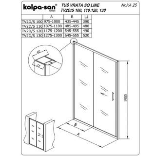 KOLPA SAN PARAVAN TV2D/S SQ line 100 S/CHINCHILA SILVER RAM
