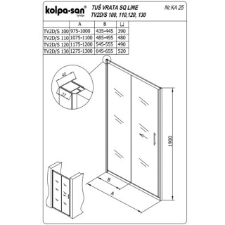 KOLPA SAN PARAVAN TV2D/S SQ line 110 S/K SILVER RAM