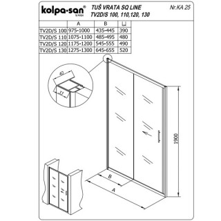 KOLPA TV2D/S SQ line 120 S/CH činčila,5/6,mm,,bela,,h=