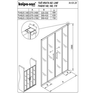 KOLPA TV4D/S SQ line 140 S/K Sprov.,5/6,mm,,silver,,h=