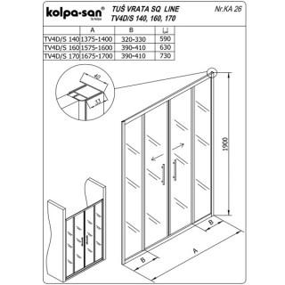 KOLPA TV4D/S SQ line 160 S/K Bprov.,5/6,mm,,bela,,h=19