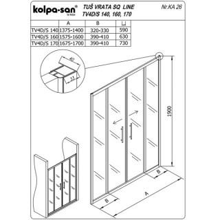 KOLPA SAN PARAVAN TV4D/S SQ line 170 S/K BELI RAM