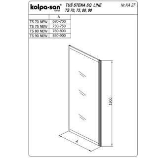 KOLPA TS SQ line 90/K NEW BELAprov.5/6,mm,bela,,,