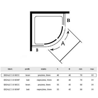 ARMAL KABINA POLUKRUZNE, 80 x 80 x 190cm, STAKLO 6mm HROM/TRANSPARENT IDEALE 3.9 80CC
