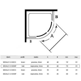 ARMAL KABINA POLUKRUZNE, 80x 80x 190cm, STAKLO 6mm BELO/LED IDEALE 3.9 80WF