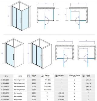 CONCEPT Tuš kabina  ABSOLUT 1000x800x2000 staklo 6mm providno sa pivot vratima C-02-6100/6080