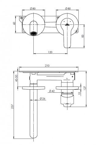 RUBINETA TORINO LAVABO UGRADNA 1F (BK) PM0010