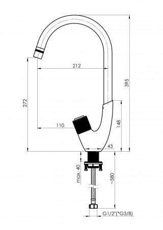RUBINETA SLAVINA ZA SUDOPERU/UMIVAONIK SWAN-33 (BK) SW0008