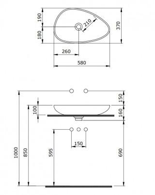 BOCCHI ETNA LAVABO 58CM - CRNO MAT 1114-004-0125